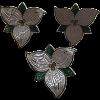 Sterling Silver and Enamel Trillium Flower Brooch and Earrings, Breadner Co. Ltd.