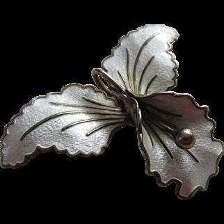 Beautiful AKSEL HOLMSEN Norway  Sterling Silver and Enamel Iris Flower Brooch