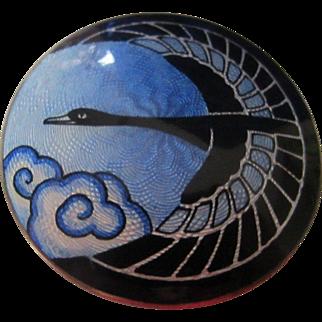 Rare Gustav Gaudernack Norway Flying Goose Enamel and Sterling Brooch from Master Enamellist