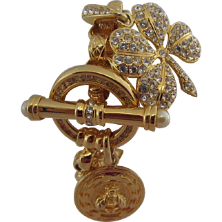 Glamorous KJL Kenneth Jay Lane Charm Bracelet with Pavé Rhinestones, Bee Charm and Detachable Lucky Four Leaf Clover Charm in K.J.L. Pouch