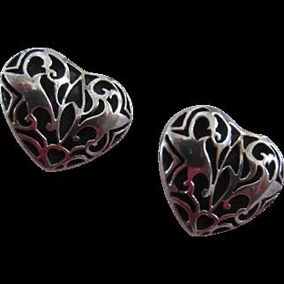 Sterling Silver Shadow Box Heart Pierced Earrings - Mother's Day