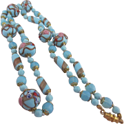 Exquisite Robin's Egg Blue, Aqua, Pink and Gold Long Wedding Cake Murano Glass Necklace