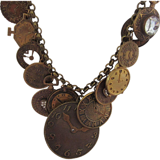 PIDIDDLY LINKS Clock Charms Necklace, c. 1970's