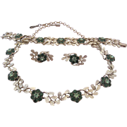CORO Parure with Summery Shades of Green Rhinestones - Necklace, Bracelet and Earrings