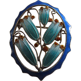 Beautiful Sterling and Enamelled Bluebell Flowers Pin