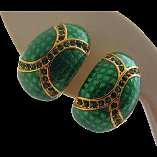 JOAN RIVERS Elegant Emerald Green Enamel and Rhinestone Demi Hoop Earrings