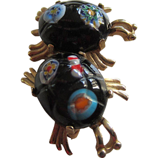 EISENBERG Art Glass Owl Brooch, 1970's