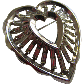 Shimmering Crown Trifari Heart Brooch with Clear Baguettes