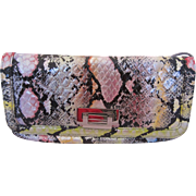 Colourful Simulated Reptile Skin Convertible Clutch Purse or Shoulder Bag