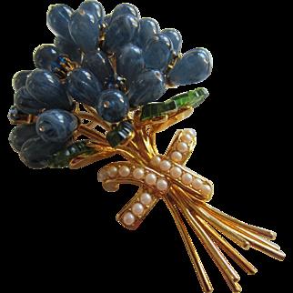 JOAN RIVERS Huge 4 Inch Blue Flower Bouquet Brooch