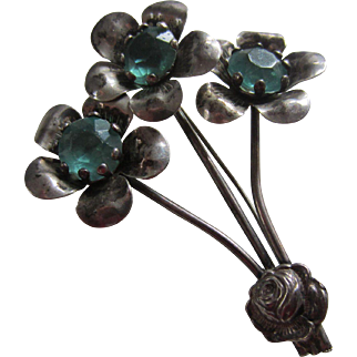Retro Moderne Sterling and Aqua Glass Triple Flower Brooch, 1940's