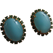 ALICE CAVINESS Turquoise Moonstone Glass & Green Rhinestone Luminous Earrings