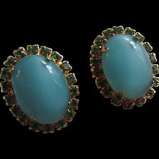 ALICE CAVINESS Turquoise Moonstone Glass & Green Rhinestone Luminous Earrings