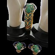 Iconic Hattie Carnegie Faux Jade, Emerald Green and Lapis Blue Enamel Ram's Head Bracelet and Matching Earrings