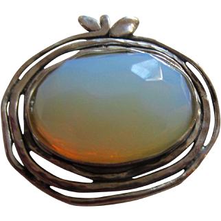 Handcrafted Signed Opal-like Stone and Sterling Pendant