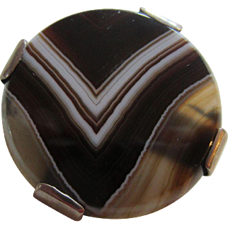 Exceptional Antique Victorian Scottish Banded Agate and Sterling Silver Brooch #1
