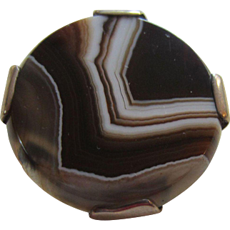 Exceptional Antique Victorian Scottish Banded Agate and Sterling Silver Brooch #2