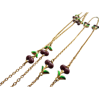 Joan Rivers Long Miniature Enamelled Cherries Necklace in Classics Collection Pouch