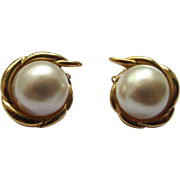 Classic Mabe Pearl and 14 K Gold Winged Earrings