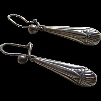 Elegant Danish Sterling Silver Pendant Earrings