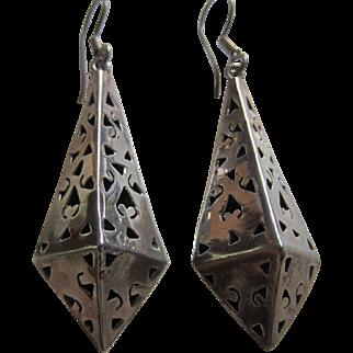 Dramatic Sterling Silver Pyramidal Shaped Pendant Earrings