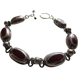Interesting Silver and Red Enamel Linked Bracelet