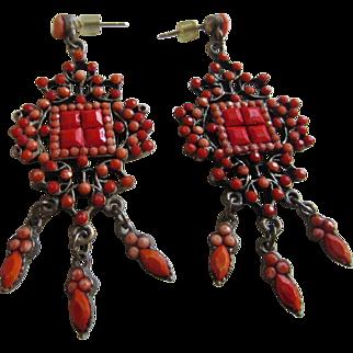 Great Looking Coral Glass Dangling Pierced Earrings