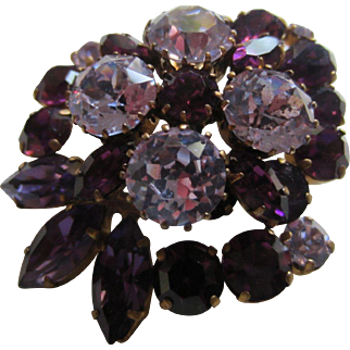 Dramatic Shades of Purple and Faux Alexandrite Made in Austria Brooch