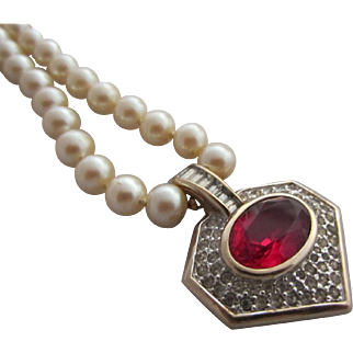 Beautiful PANETTA Simulated Creamy Pearls and Ruby Red and Clear Rhinestone Pendant Necklace
