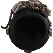 Superb Sterling Silver, Marcasites and Onyx Large Panther Brooch Pendant