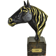 SOHER Equstrian Bronze Sculpture Marble Base Fine Art Horse