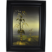 Vintage Modern Original Lidia Boniecka Acrylic Painting 20th Century Surrealist Salvador Dali Style