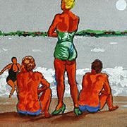 Vintage Modern Original Oil Painting 20th Century OP POP Folk Art Beach Impressionist Framed Signed