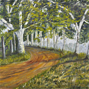 Vintage Original Oil Painting 20th Century Modern Landscape Impressionist Forest Art