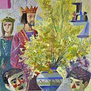 Vintage ALFREDO OPISSO Modern Original 20th Century Gouache Painting Listed Artist