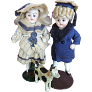 "3"" All original , all bisque girl and boy pair with dog."