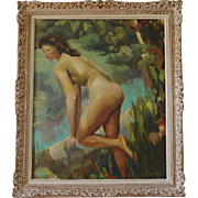 DEMESSE French Art Deco Oil On Canvas Nude Lady Late 1930s