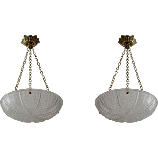 NOVERDY French Art Deco Pair of Chandeliers 1930