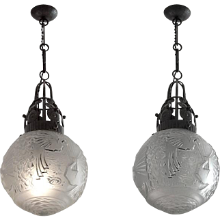Muller Freres / Fag French Art Deco Pair of Chandeliers 1925