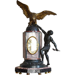 French Art Deco Eagle Mantle Clock 1925