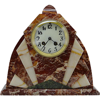French Art Deco Marble Mantel Clock, 1920