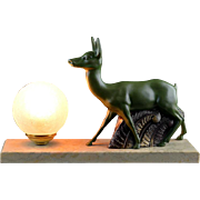 French Art Deco Antelope Table Lamp or Night-light 1930s