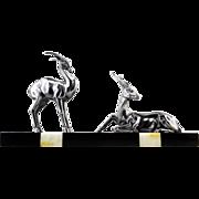 Spelter Antelope Sculpture French Art Deco 1930s