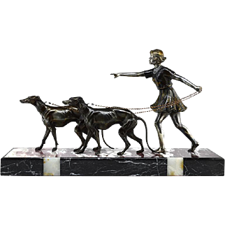 French Art Deco Young Lady and Greyhound Sculpture 1930