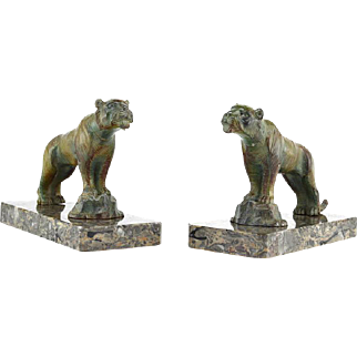 Hippolyte MOREAU French Art Deco Tiger Bookends late 1920