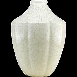 French Art Deco Crackle Glaze Ceramic Vase 1920s