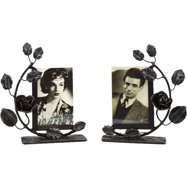 French Art Deco Pair Of Wrought Iron Photo Frames 1930 Ceramic Gl Light Ruby Lane