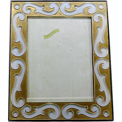 deco acid etched glass photo frame 1930 from