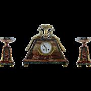French Art Deco Peacock Mantel Clock Set 1920