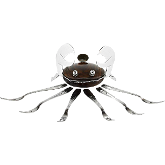 French Art Deco Macassar and Chrome Shellfish Set 1930